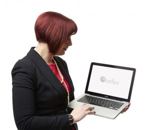 Amber with laptop logo on screen 2